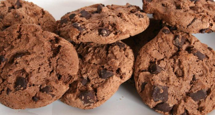 A handful of chocolate chip cookies